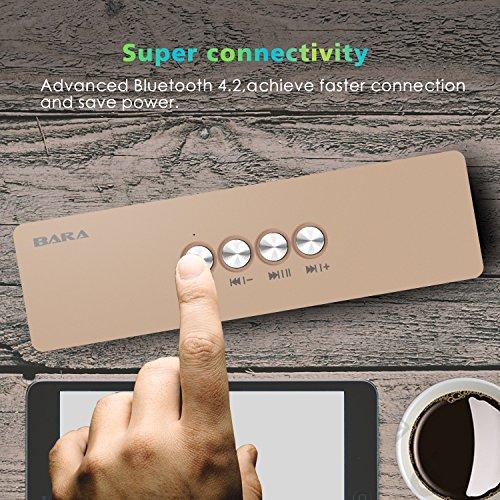 Altavoces Bluetooth, BARA S5 Bluetooth 4.2, Estereo HD, al Aire Libre Portátil, con HD Audio y Manos Libres, Unidad Dual Altavoz Bluetooth inalámbrico (Gold)