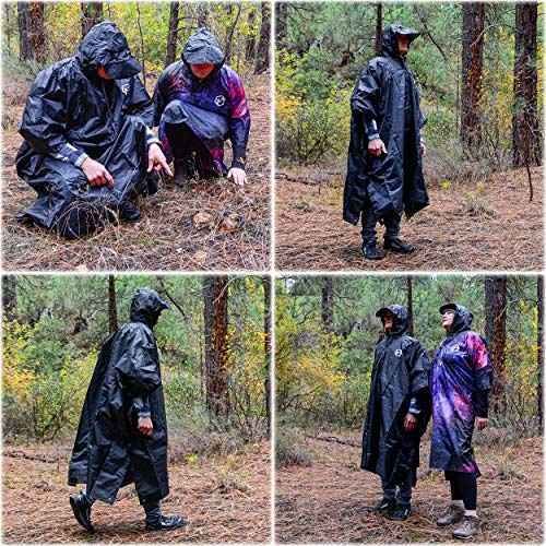 Foxelli Hooded Rain Poncho - Waterproof Emergency Military Raincoat for Adult Men & Women - Lightweight, Multi-Use, Reusable Rain Gear for Hiking, Camping, Fishing, Festivals