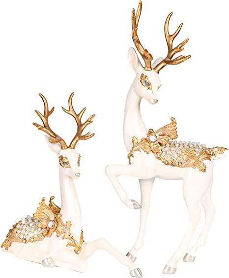 Newman House Studio 22 5 H Decorative Reindeer Figurine Statues White Gold Set Of 2 Christmas Décor Kitchen Dining