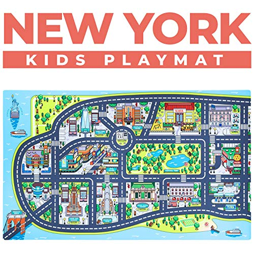 Kids Play Mats for Toddlers. Educational, Road & Car Rug with map of New York City. Large 75