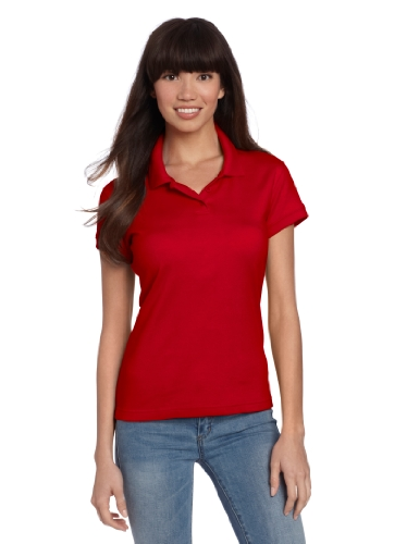 Classroom School Uniforms Junior Girls Short Sleeve Fitted Interlock Polo, Red, Medium