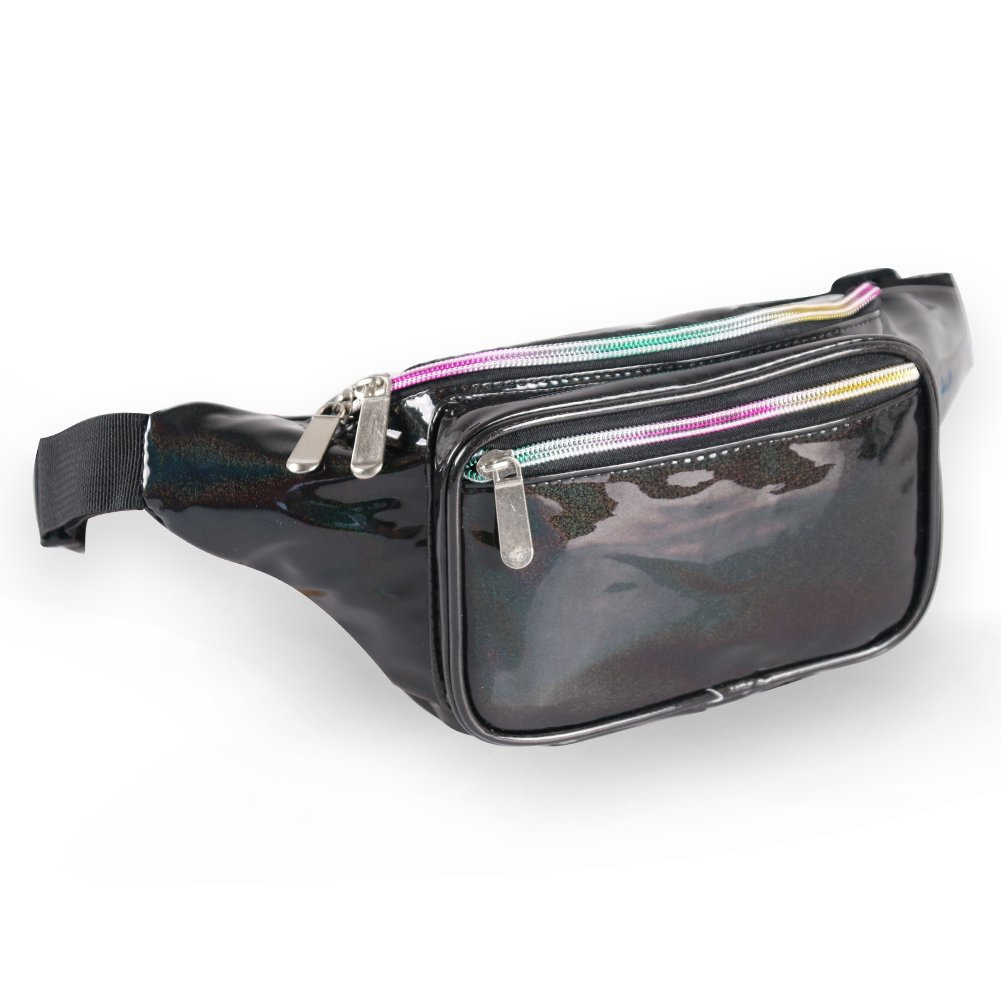 Holographic Fanny Pack for Women - Waist Fanny Pack with Adjustable Belt for Rave, Festival, Travel, Party (Blackberry) by Mum's memory (Image #1)
