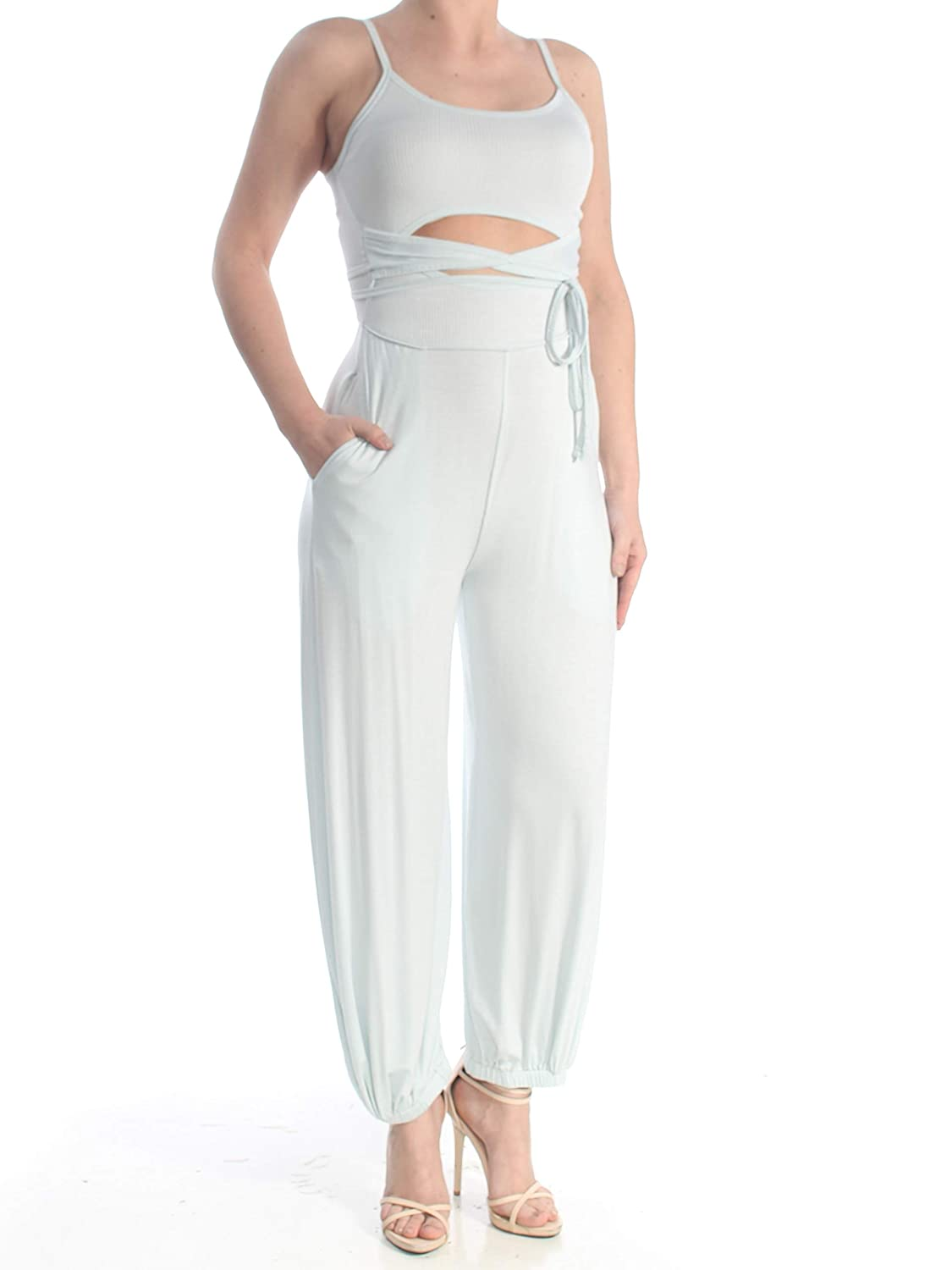 Free People Mint Womens Cutout Ribbed Jumpsuit