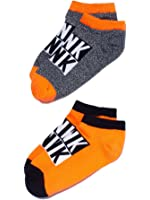 Victoria's Secret PINK No Show Ankle Socks Set 2 Pairs Orange/Grey Marl