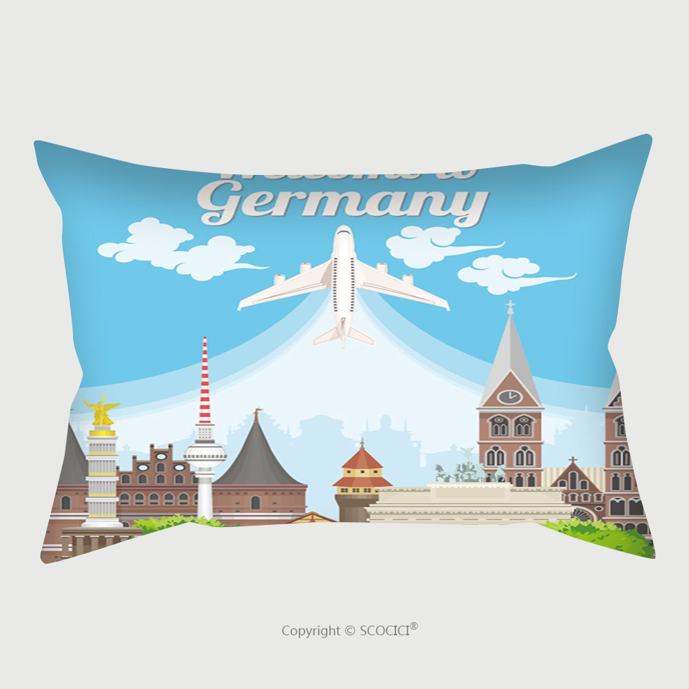 Custom Satin Pillowcase Protector Welcome To Germany Travel German Landmarks German Vector Icons Trip Architecture Concept 478104013 Pillow Case Covers Decorative by chaoran