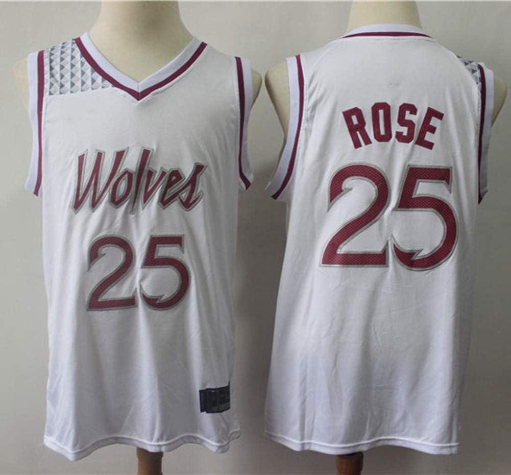 TGSCX NBA Baloncesto Masculino Jersey Lobo del Bosque # 25 Derrick Rose Retro Malla Bordado Jersey Chalecos Tops Camisetas sin Mangas,A,S 170CM // 50~65Kg