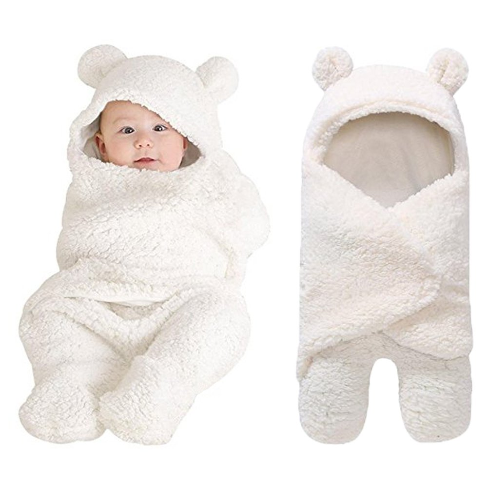 Newborn Baby Boys Girls Cute Cotton Plush Receiving Blanket Sleeping Wrap Swaddle