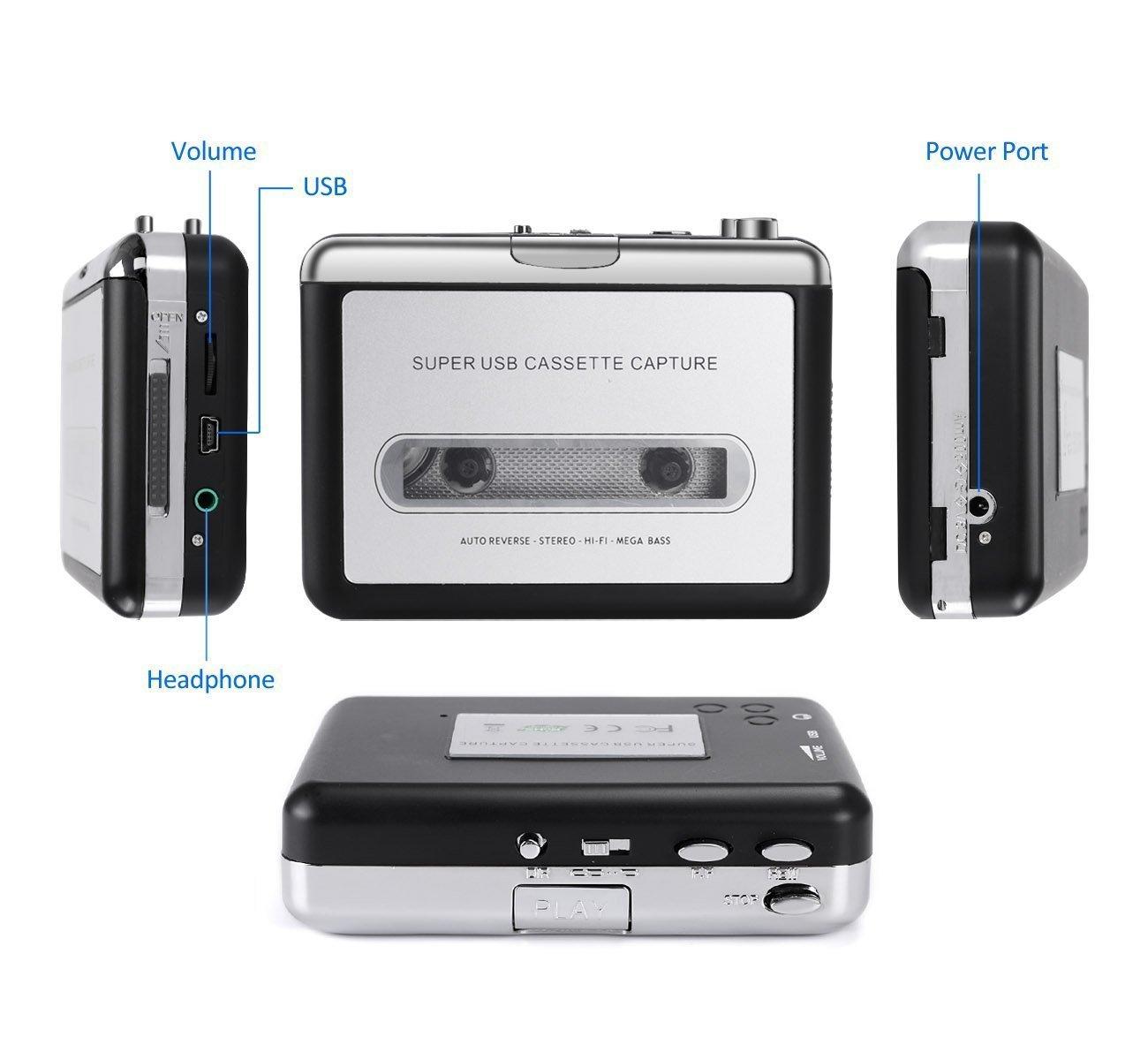 Convertitore Digitale Di Cassette Audio INVAFOCO Riproduttore Convertitore Di Cassette Musicasette a MP3