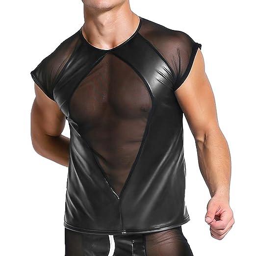 6f56d510 YiZYiF Men's Sexy Clubwear T Shirt Cap Sleeve Shiny Metallic Patchwork  Undershirt Black Medium