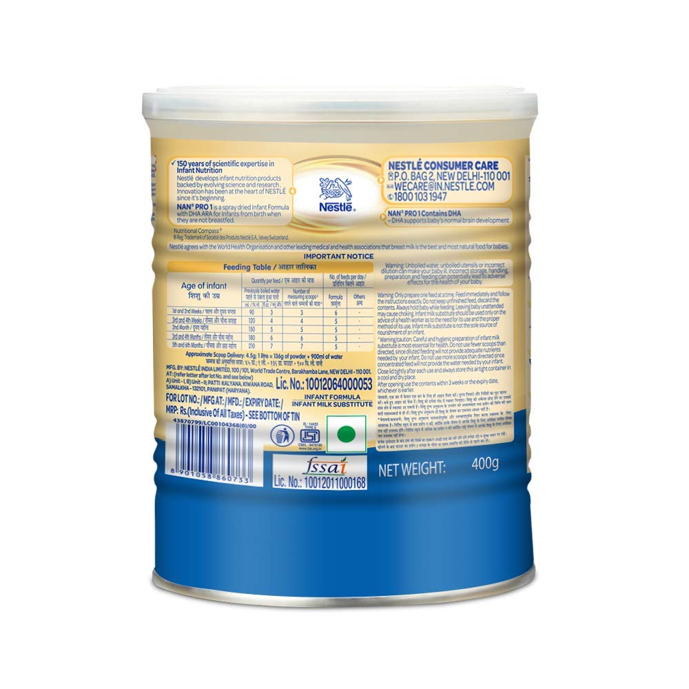 NAN PRO 1 Infant Formula Powder (400gm Tin pack)