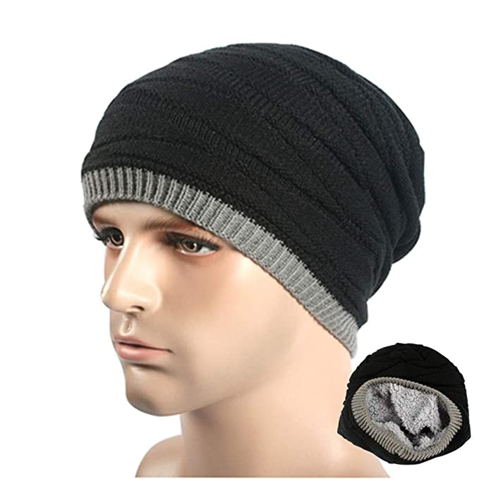 EQKWJ Unisex Beanie Winter Hats Cap Men Women Beanies Stripe Knitted Hat  Male Female Warm Wool Caps at Amazon Men s Clothing store  04ae86f26da
