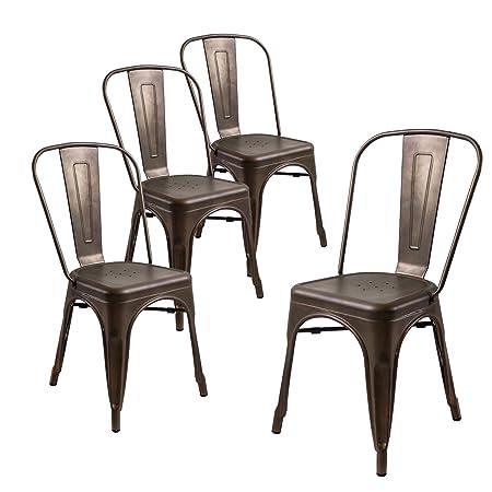 Buschman Set of Four Bronze Metal Indoor Outdoor Stackable Chairs with Back