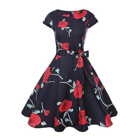 Neun Vintage Kleid, Yesmile Vintage 50er Jahre Blumen Swing Party Kleider Damen Schwarz Rockabilly Retro Hepburn Cocktailkleider Frauen Kurzarm