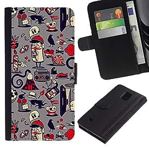 LASTONE PHONE CASE / Lujo Billetera de Cuero Caso del tirón Titular de la tarjeta Flip Carcasa Funda para Samsung Galaxy Note 4 SM-N910 / Paper Pattern French Grey