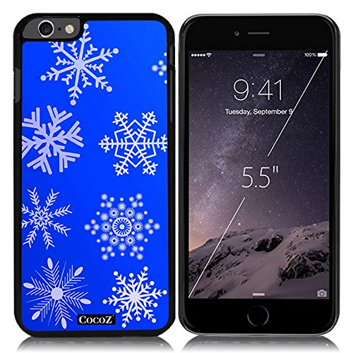 New Apple iPhone 6 s Plus 5.5-inch CocoZ® Case Beautiful Christmas Snow PC Material Case (Black&Black PC 26 Snowflake - Slash Super Flash