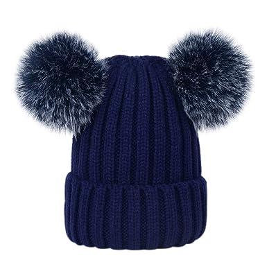 d78860d3381a Lau s Bonnet tricot femme chaud hiver Bonnets de ski avec deux pompons en fausse  fourrure Bleu