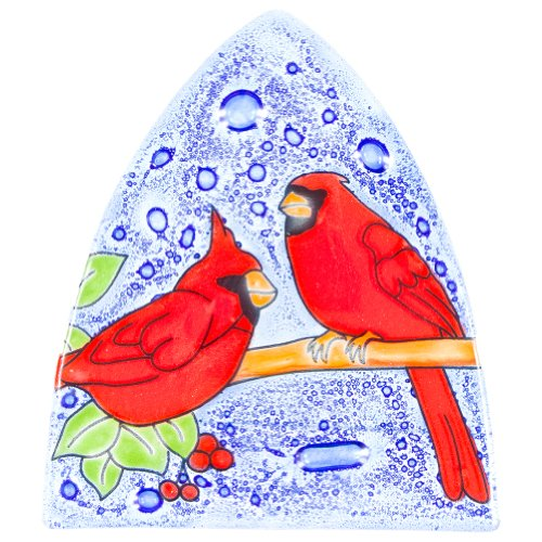 Glass Light Cardinals Night (Animal World - Cardinals Perched on Branch Fused Glass Nightlight Cover - Multi)
