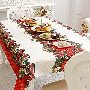 Mantel impreso rectangular de la tela de la cubierta superior de tabla de la Navidad, usado para la decoración casera de la Navidad
