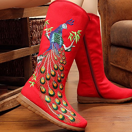 Thirty Bottes Faible Dichotomanthes Peacock Occasionnel De Tube Bottes Brodé five Style Brodés Rouge KHSKX Zipper Documentaire Folklorique Mode RvxqwIaI