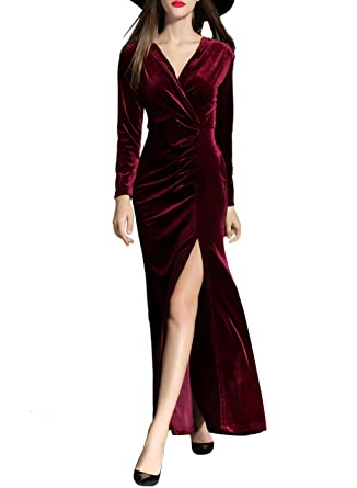 ASVOGUE Womens Elegant High Slit Velvet Prom Dress, Burgundy S