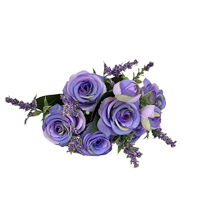 Fake Flower,Artificial Fake Blooming Rose Flower Bridal Bouquet Wedding Party Home Decor (Purple)