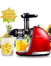 Licuadora Prensado en Frio, AMZCHEF Licuadora Frutas Verduras,Extractor de zumos con Función inversa,Motor Silencioso,fácil de limpiar con un cepillo extra
