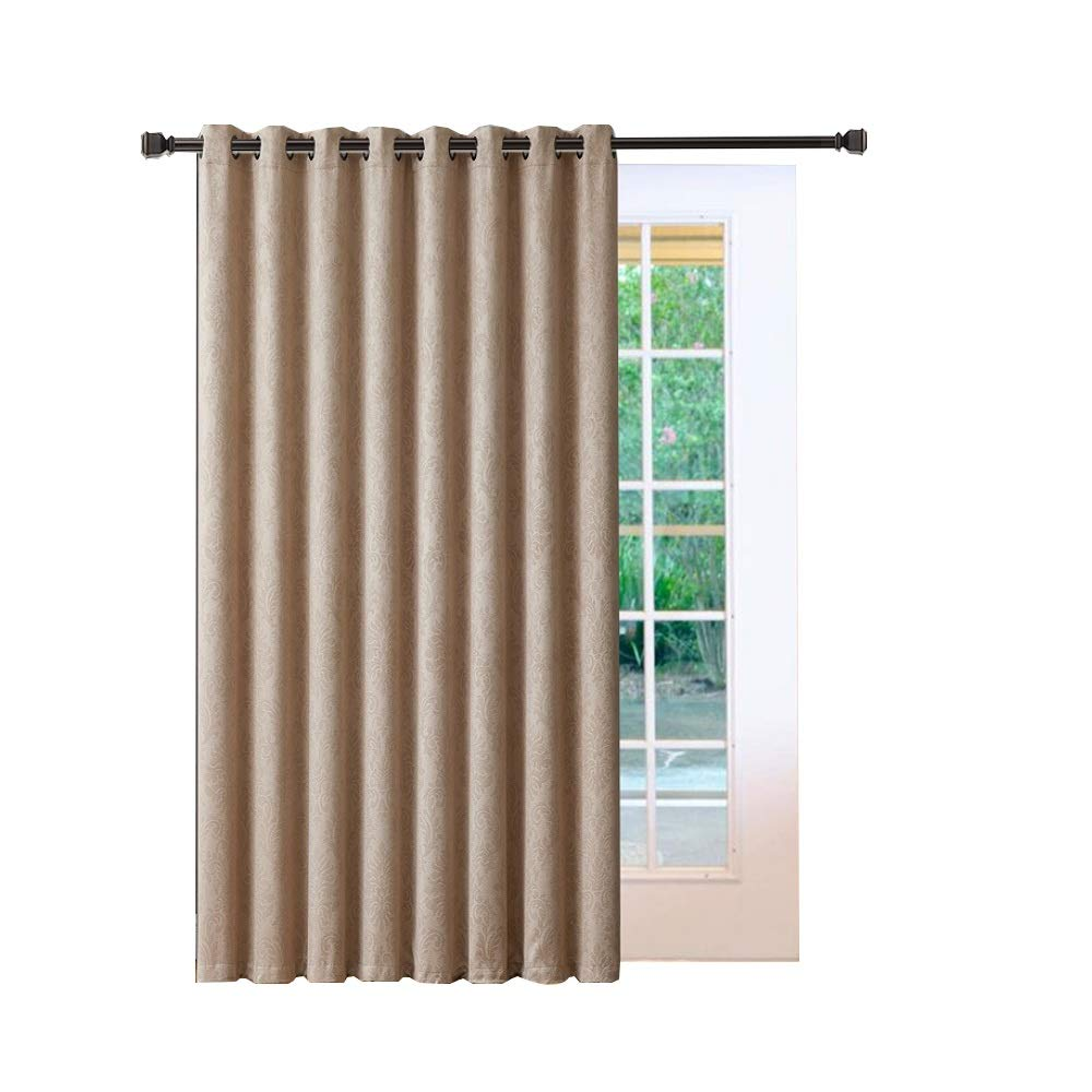 "Warm Home Designs 1 Extra-Large 102"" X 84"" Panel of Textured Taupe Patio Door Curtains. Insulated Blackout Sliding Door or Room Divider Drape with Embossed Flower Pattern. EV Taupe Patio 84"
