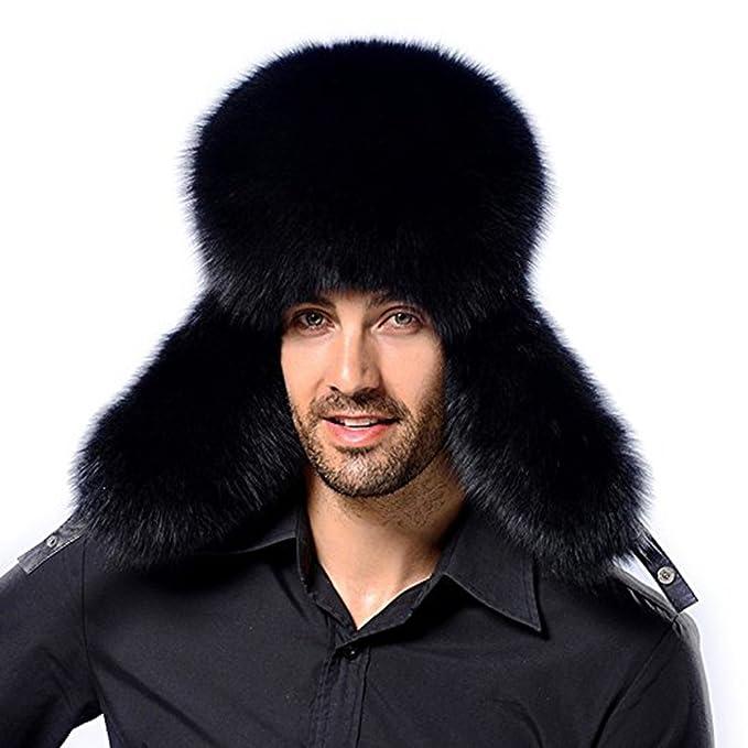 MSFGJZM Men s Winter Russian Ushanka Aviator Bomber Hat Pilot Faux Fur  Leather Cap Elastic 22- afbba0f8135
