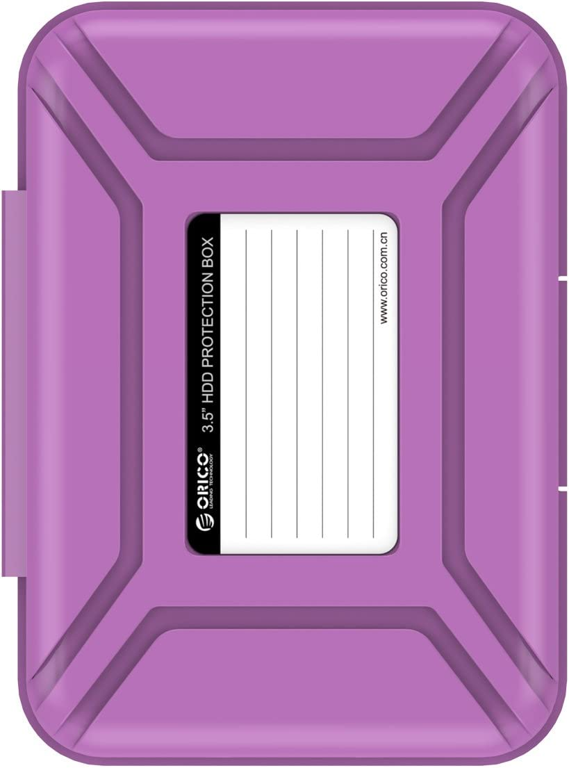 "ORICO Hard Drive Case 3.5 Protective Storage Case for 3.5"" HDD Portable, Anti-Static, and Anti-Shock - Purple"