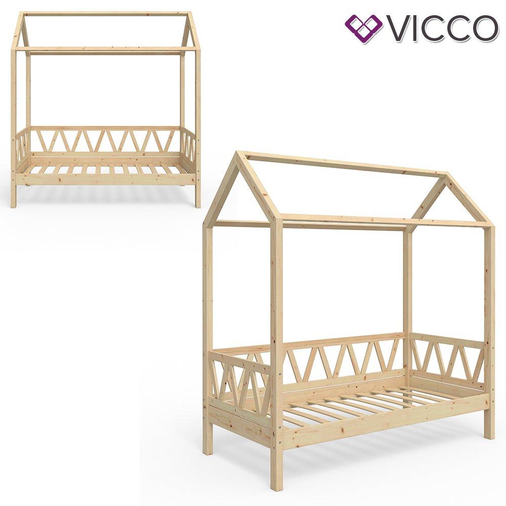 Vicco Kinderbett Hausbett Lisa 80x160cm Kinder Bett Holz Haus ...