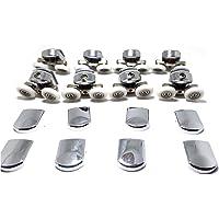 Lot de 8roues de fixation de rechange pour porte de douche en verre - 4roues inférieures et 4 rouessupérieures - Pour porte en verre de 4à 6mm d'épaisseur - En chrome