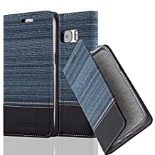 Cadorabo - Book Style Wallet for Samsung Galaxy S7 (NOT for EDGE) with Stand Function, Card Slot and invisible Magnetic Closure in Fabric-Fauxleather Design - Etui Case Cover Protection in DARK-BLUE-BLACK