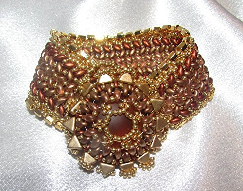 beaded-wide-cuff-herringbone-luminous-bracelet-with-gp-edging