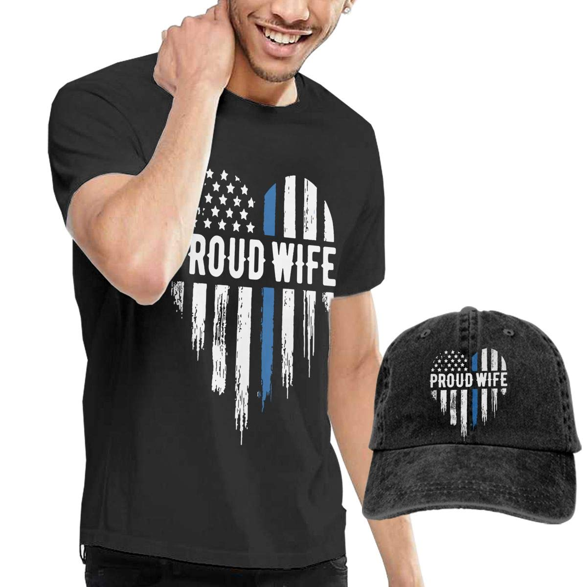 WWTBBJ-B Thin Blue Line Heart Wife Adult Mens Summer T Shirts and Fishing Jean Hat