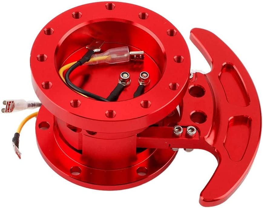 Universal Quick Release Steering Wheel Hub Adapter Removable Snap Off Kit for Car Racing,Red