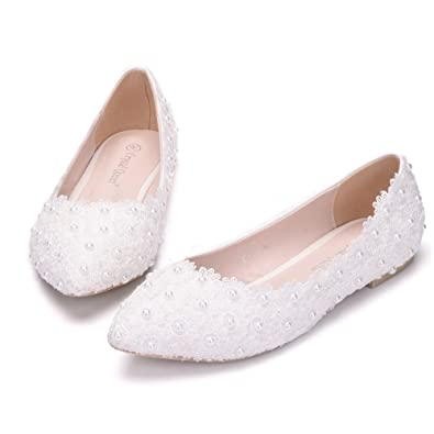 89af8ef2c80d THE LONDON STORE Women s White Pearl Flat Wedding Lace Pumps  Buy Online at Low  Prices in India - Amazon.in