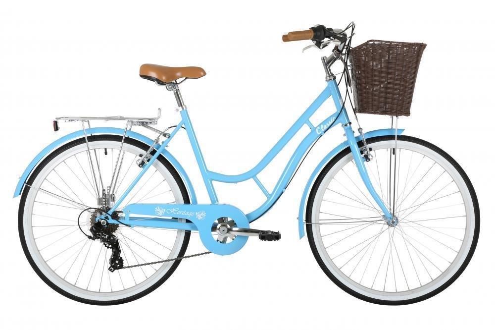 "Classic Heritage Ladies 26"" Wheel 7 Speed 16"" Traditional Bike Bicycle Blue"