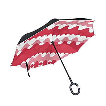 FOLPPLY Paraguas invertido, Lunares geométricos Blancos, Rojos, Doble Capa, Paraguas invertido,