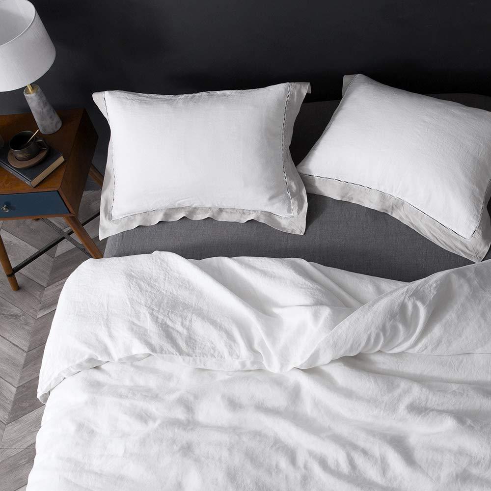 Simple/&Opulence 100/% Linen Stone Washed 3Pcs Hemstitch Duvet Cover Set King, Grey Frame