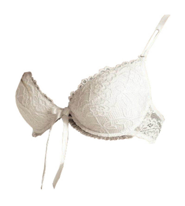 Elegante Boda de Push Up Sujetador Carmen de Roza blanco Weiß