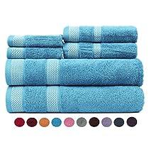 Casa Copenhagen Solitaire Cotton 17.70 oz/yd² thick 6 pieces Bath, Hand & Washcloth/Face Towels Set - Blue Bird