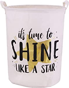 Jacone Stylish Gold Stamping Pattern Design Laundry Basket Canvas Fabric Waterproof Cylindric Storage Bin Nursery Hamper with Handles, Decorative and Convenient for Kids Bedroom (Shine Like a Star)