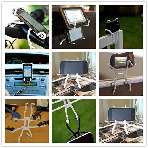 White Universal Multi-function Portable Spider Flexible Grip Smart Phones GPS Car Bicycle Bike Desk Plane Cup Book Support Cell Mobile Phone Holder hanging Mount and Stand for iPod iPhone 4//4S//5//5S//6 Samsung Galaxy Andriod MP4