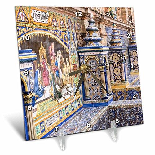 3dRose Danita Delimont - Spain - Spain, Andalusia, Seville. Traditionally decorated Plaza de Espana - 6x6 Desk Clock (dc_277896_1) by 3dRose