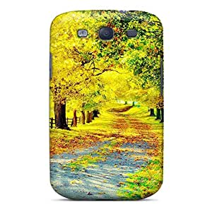 Tpu Case Cover Compatible For Galaxy S3/ Hot Case/ Bright Autumn Country Road