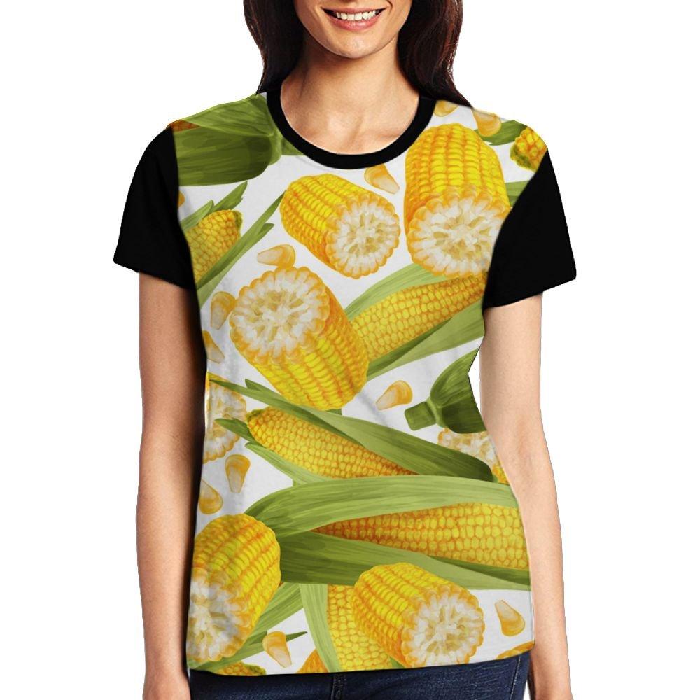 CKS DA WUQ Corn Harvest Season Women's Raglan T-Shirt Novelty Sport Baseball Tees Tops Undershirts by CKS DA WUQ