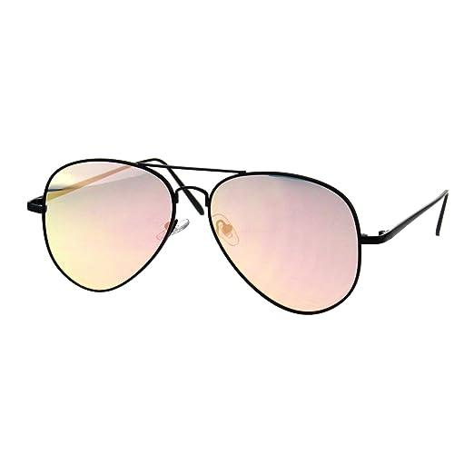 f10ef9fc58da9 Amazon.com  Womens Aviator Sunglasses Flat Metal Frame Black