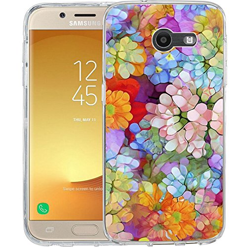 Compatible to Samsung Galaxy J7 V / J7 2017 / J7 Prime / J7 Perx / J7 Sky Pro/Galaxy Halo Case, TPU Rubber Soft Skin Silicone Protective Case Cover HD Clear Floral Design