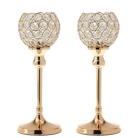 Amazon.com: Vela mesa dorado candelabro de vidrio creativo ...