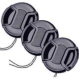 49mm レンズキャップ 3個セット インナー式ワンタッチレンズキャップ 49mm 脱落防止フック付き レンズプロテクトキャップ (49mm)